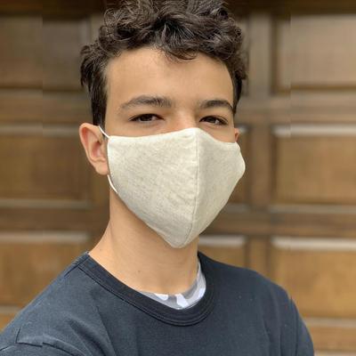 Hemp and cotton face masks 'Subtle Nature' (set of 3) - Set of 3 Artisan Crafted Neutral Hemp and Cotton Face Masks