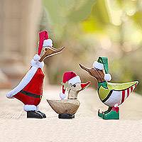 Bamboo and wood sculptures, 'Santa's Team' (set of 3)