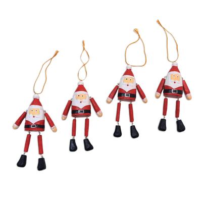 Wood ornaments, 'Dancing Santas' (set of 4) - Dangling Wood Santa Ornaments from Bali (Set of 4)