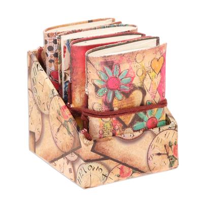 Paper journals, 'Floral Ecstasy' (set of 4) - Floral Motif Paper Journals from India (Set of 4)