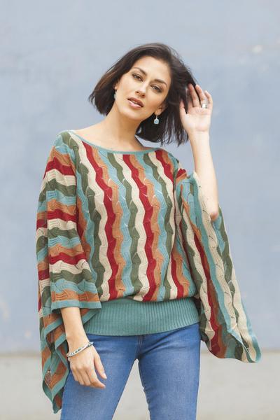 Alpaca blend sweater, 'Tropical Heatwaves' - Green and Scarlet Vertical Stripe Alpaca Blend Sweater