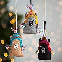 Wool ornaments, 'Sleepy Llamas' (set of 3) - Assorted Wool Llama Ornaments from Peru (Set of 3)