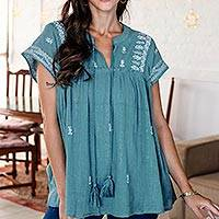 Embroidered cotton blouse, 'Teal Mornings' - Hand Embroidered Teal Cotton Blouse