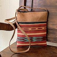 Handwoven cotton and faux suede sling, 'Thoughts of Autumn' - Cross Body Sling Hand Crafted of Cotton