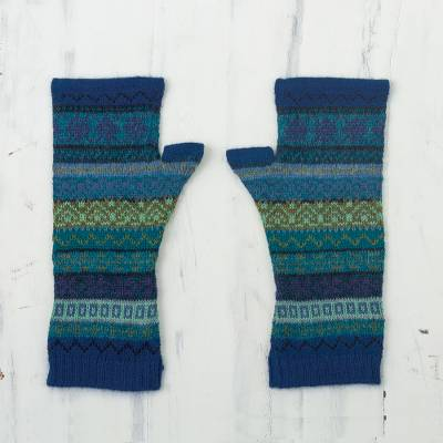100% alpaca fingerless mitts, 'Inca Skies' - Shades of Blue and Green 100% Alpaca Knit Fingerless Mitts