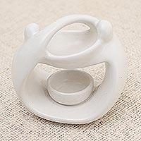 Ceramic oil warmer, 'Warm Feelings' - White Ceramic Sculptural Oil Warmer