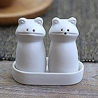 Ceramic salt and pepper set, 'Fanciful Frogs in White' - Matte White Ceramic Frog Salt and Pepper Shakers with Tray