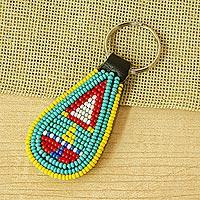 Beaded key fob, 'Savanna Sunshine' - Multicolored Handmade Beaded Key Fob