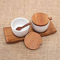 Ceramic and teak wood condiment set, 'Flavor Duo in White' - Hand Made Ceramic and Teak Wood Condiment Set