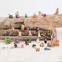Terracotta mini ornament set, 'Noah's Ark Friends' (Set of 30)