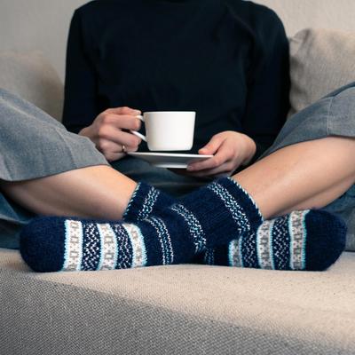Hand-knit slipper style socks, 'Midnight Frost' - Hand-Knit Midnight Blue Thick Slipper Style Socks from India