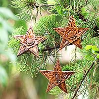 Wood ornaments, 'Sunny Christmas' (set of 3) - Hand Carved Star-Shaped Holiday Ornaments (Set of 3