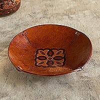 Tooled leather catchall, 'Colonial Florals' - Brown Hand Tooled Leather Catchall Plate from Peru