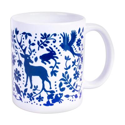 Ceramic mug, 'Blue Otomi Vision' - Artisan Crafted Otomi Blue Birds and Flowers Ceramic Mug