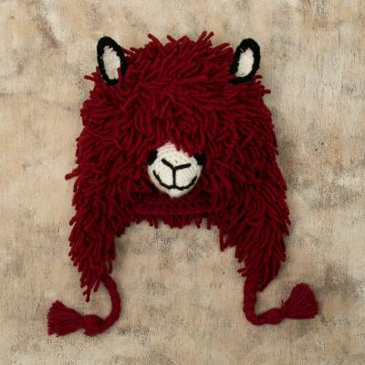 Wool blend hat, 'Red Llama' - Furry Red Llama Beanie Hat from Peru