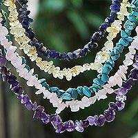 Gemstone beaded necklaces, 'Five Colors' (Set of 5) - Gemstone Beaded Necklaces (Set of 5) from Brazil