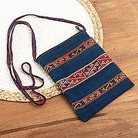 100% alpaca shoulder bag, 'Inca Glyphs' - Artisan Crafted Alpaca Shoulder Bag