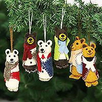 Wool holiday ornaments, 'Cosy Bears' (set of 6) - Wool Felt Bear Ornaments (Set of 6)