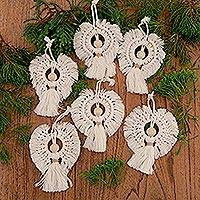Hand-woven cotton holiday ornaments, 'Holiday Angel' (set of 6) - Cotton and Bamboo Angel Holiday Ornaments (Set of 6)