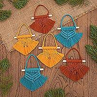 Hand-woven cotton holiday ornaments, 'Colorful Christmas' (set of 6) - Hand Woven Colorful Cotton Holiday Ornaments (Set of 6)