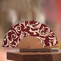 Silk batik fan, 'Red Bali Glory' - Batik Silk Fan