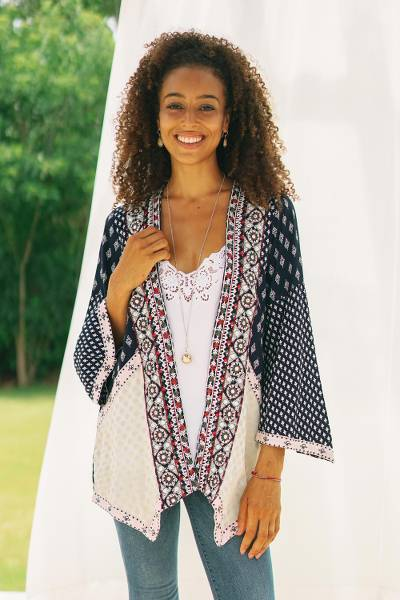 Viscose patchwork jacket, 'Boho Beauty' - Embroidered Open Jacket in Midnight Blue