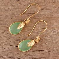 Gold plated chalcedony dangle earrings, 'Garden Glory' - Handmade 22k Gold Plated Chalcedony Dangle Earrings