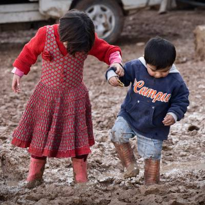 Winter boots for a Syrian child - Warm winter boots for a Syrian child