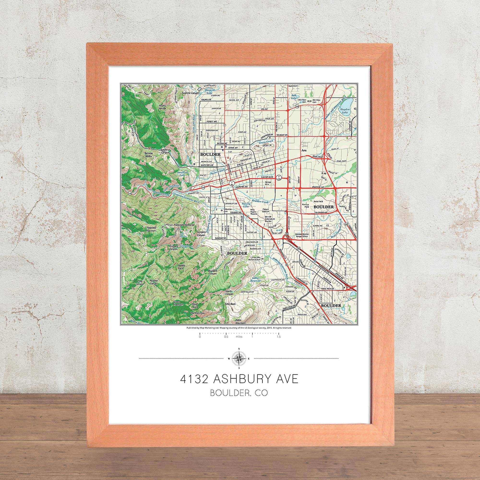Framed 'Your Home' USGS Topographical Map