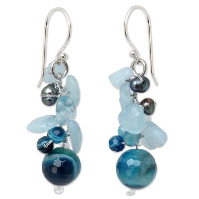 Pearl and aquamarine cluster earrings,