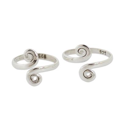 Sterling silver toe rings,