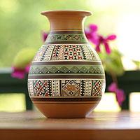 Cuzco vase, 'Inca Splendor' - Hand Painted Cuzco Ceramic Vase