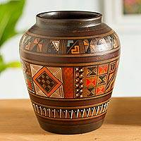 Aged Cuzco vase, 'Labyrinth' - Collectible Ceramic Cuzco Vase