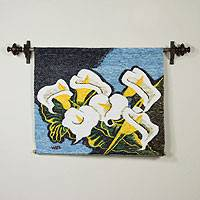Wool tapestry, 'Arum Lilies Bouquet' - Handmade Floral Wall Hanging Tapestry