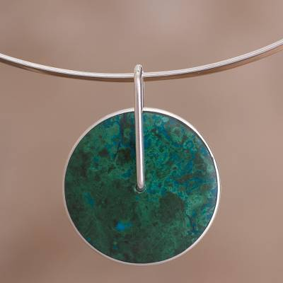 Chrysocolla choker, 'Magic Circle' - Chrysocolla Choker Silver 950 Necklace from Peru