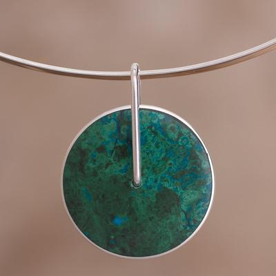 Chrysocolla choker, 'Magic Circle' - Chrysocolla Choker Silver 950 Necklace from Peru