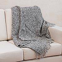 Alpaca blend throw blanket, 'Andean Mist' - Silver Gray Warm Handmade Alpaca Blend Throw Blanket