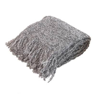 Alpaca blend throw blanket, 'Andean Mist' - Silver grey Warm Handmade Alpaca Wool Throw Blanket