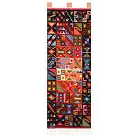 Wool tapestry, 'Heavenly Bodies' - Hand Crafted Geometric Wool Tapestry Wall Hanging