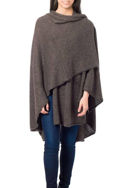 Alpaca blend wrap, 'Brown Tweed' - Artisan Crafted Alpaca  Blend Wrap Ruana