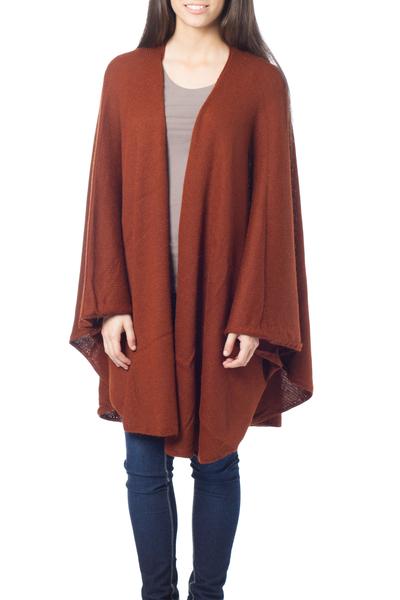 Alpaca blend wrap, 'Autumn Russet' - Collectible Alpaca Wool Blend Solid Wrap Ruana