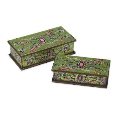 Reverse painted glass boxes, 'Ruby' (pair) - Handcrafted Reverse Painted Glass Jewelry Boxes (Pair)