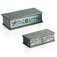 Reverse painted glass jewelry boxes, 'Emerald' (pair) - 2 Collectible Reverse Painted Glass Wood Decorative Boxes