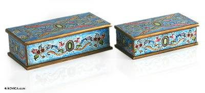 Reverse painted glass jewelry boxes, 'Emerald' (pair) - Collectible Reverse Painted Glass Wood Decorative Box
