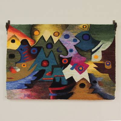 Wool tapestry, 'The Ancient Ones' - Unique Cultural Wool Tapestry Wall Hanging