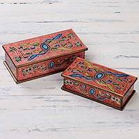 Reverse painted glass jewelry boxes, 'Sapphire' (pair) - Artisan Crafted Reverse Painted Glass Jewelry Boxes (Pair)
