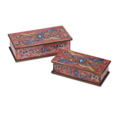 Artisan Crafted Reverse Painted Glass Jewelry Boxes (Pair)