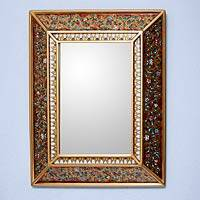 Cedar mirror, 'Flowers on Gold' - Hand Crafted Floral Glass Mirror