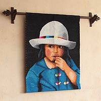 Wool tapestry, 'Girl Thinking'