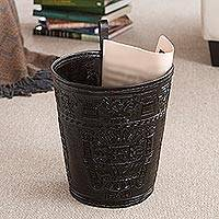 Leather waste basket, 'Warrior Guard' - Artisan Crafted Inca Leather Brown Waste Basket